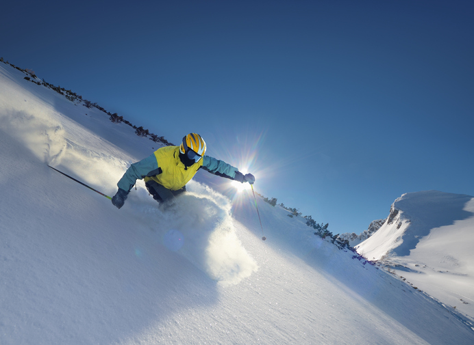 スキーをする人